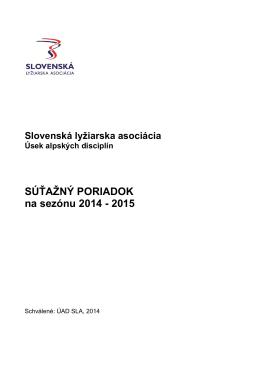 Súťažný poriadok 2014/15