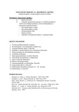 Predmety rigoróznej skúšky: