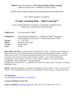"""Úvodný workshop Body – Mind Centering®"","