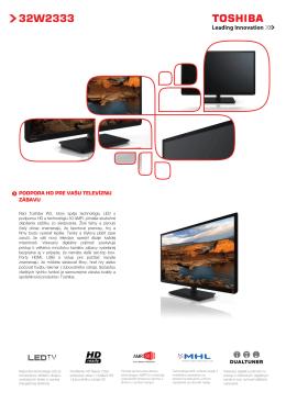 "Datasheet Toshiba 32"" 32W2333DG LED TV - Toshiba"