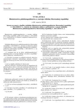 125/2012 Vyhláška Ministerstva pôdohospodárstva a rozvoja