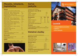 Ostatné služby Cenník Soľná jaskyňa Masáže, inhalácie, teploliečba
