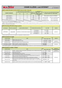 Cenník služieb v sieti internet pre programy AVIAT FLEXI
