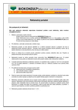 Reklamačný poriadok platny od 1.1.2013