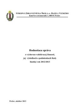Sprava o vychovno-vzdelavacej cinnosti skoly 2012-2013