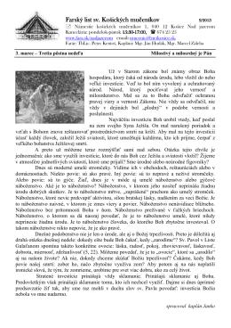Farský list sv. Košických mu Farský list sv. Košických