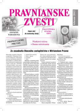 PRAVNIANSKE ZVESTI - číslo 01/2012