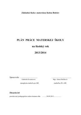 Plán práce MŠ na školský rok 2013/2014