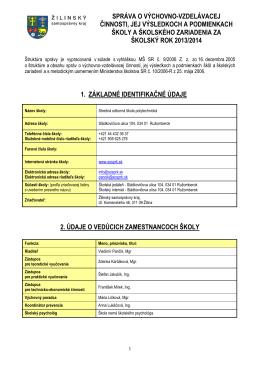 Správa o výchovno-vzdelávacej činnosti za školský rok 2013