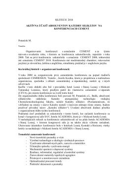 Potančok M. - Aktívna účasť absolventov katedry silikátov na