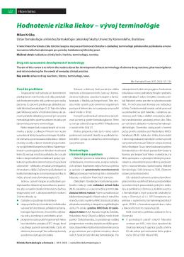 Hodnotenie rizika liekov - Klinická farmakologie a farmacie
