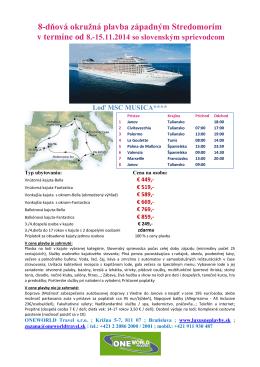 8-dňová okružná plavba západným Stredomorím