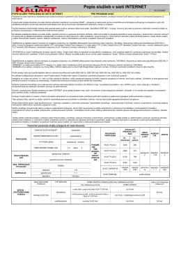 Popis služby v sieti Internet platný k 2.8.2013