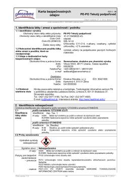 Tekutý podpaľovač 952062 - Karta bezpečnostných údajov