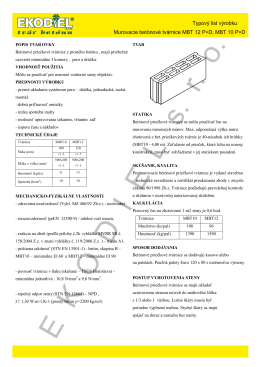 + Typový list výrobku Murovacie betónové tvárnice MBT 12