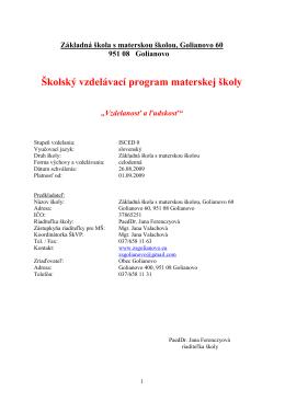 Školský vzdelávací program materskej školy