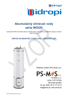 Akumulačný ohrievač vody série WOOD - PS