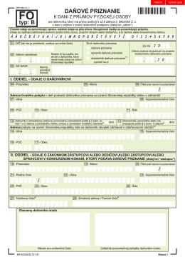 Daňové priznanie k dani z príjmov FO typ B