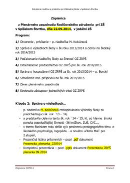 Zápisnica OZ ZRPŠ z 22.09.2014
