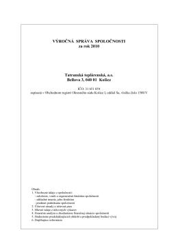 Výročná správa za rok 2010 - Tatranská teplárenská, as