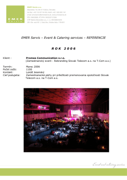 EMER Servis – Event & Catering services – REFERENCIE ROK 2 0