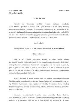 N a j v y š š í s ú d 3 Tost 35/2014 Slovenskej