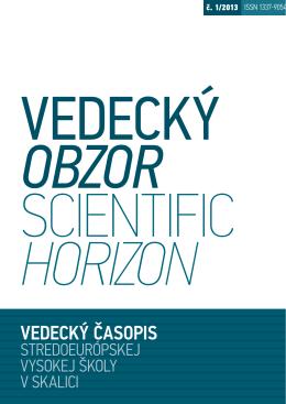 Vedecký obzor č. 1/2013 - Stredoeurópska vysoká škola v Skalici