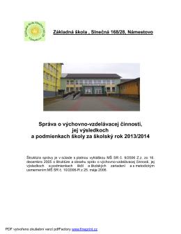 Záverečná správa - ZŠ Slnečná 168/28 Námestovo