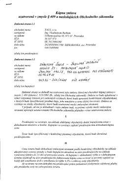 Kúpna zmluva uzatvorená v zmysle § 409 a nasledujúcich