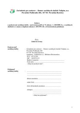 Zmluva o poskytovaní sociálnej služby - doc - dss