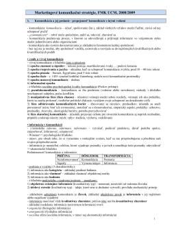 Marketingové komunikačné stratégie, FMK UCM, 2008/2009