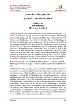 Quo vadis, súdna genetika? - SOCIETAS ET IURISPRUDENTIA