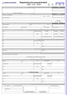 Registračný list zamestnávateľa