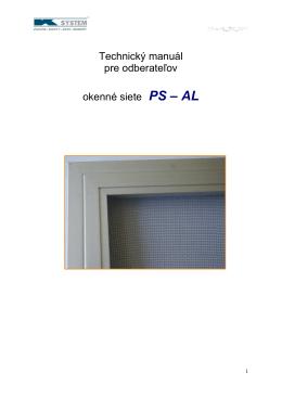 Technický manuál pre odberateľov okenné siete PS – AL - K