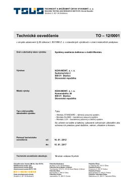 Technické osvedčenie TO – 12/0001