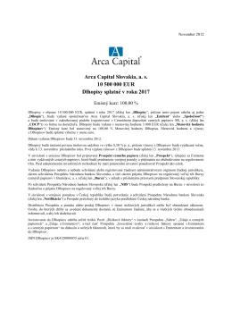 Arca Capital - dlhopisy - Prospekt