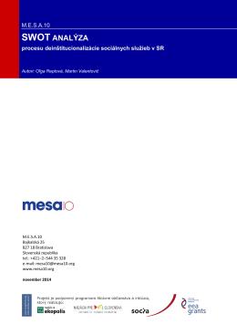 SWOT analýza procesu deinštitucionalizácie sociálnych