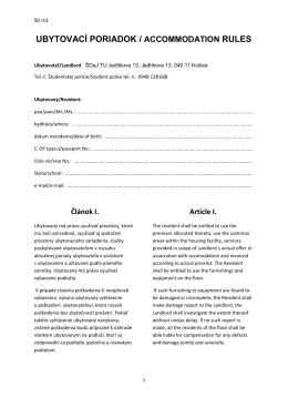 UBYTOVACÍ PORIADOK / ACCOMMODATION RULES