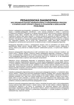 PEDAGOGICKÁ DIAGNOSTIKA - CPPPaP Košice