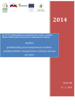 KOZ SR 31. 5. 2014 Analýza problematiky pracovnoprávnych