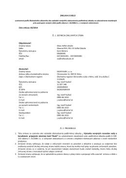 ZMLUVA O DIELO číslo zmluvy: 03/2014 Čl. 1