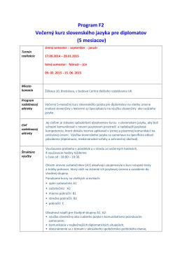 Program F2 Večerný kurz slovenského jazyka pre diplomatov (5