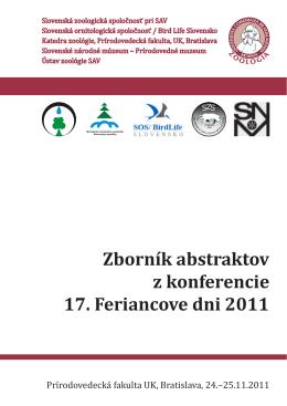Zborník abstraktov z konferencie 17. Feriancove