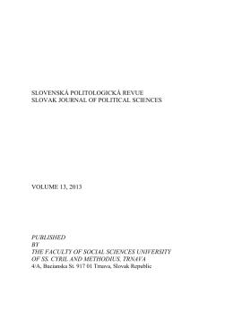 pdf - Slovenská politologická revue - Univerzita sv. Cyrila a Metoda v