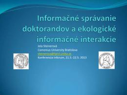 Informačné správanie doktorandov a ekologické informačné