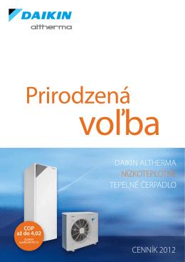 daikin altherma nízkoteplotné tepelné čerpadlo cenník 2012
