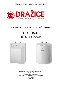 elektrický ohrievač vody BTO