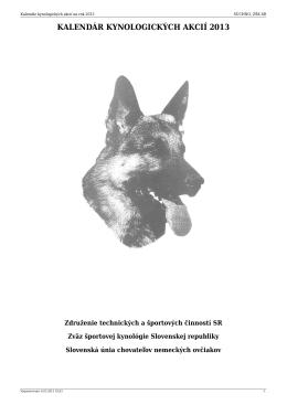 suchno- kynologický kalendár 2013