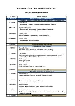 Program konference – pondělí 24.11. ZDE