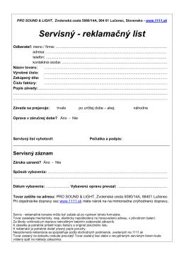 Servisný - reklamačný list